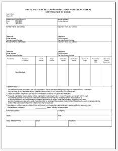 The New Usmca Certificate Of Origin Form And Instructions for Certificate Of Origin Form Template