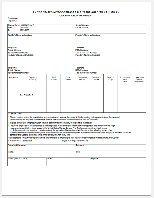 The New Usmca Certificate Of Origin Form And Instructions for Fresh Nafta Certificate Template