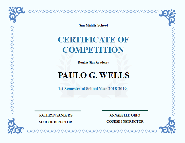 The School Competition Certificate Template Features Light in Unique Certificate Templates For School