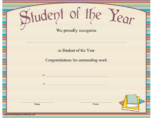 The Student Of The Year Can Be Presented With This Striped in Quality Student Of The Year Award Certificate Templates