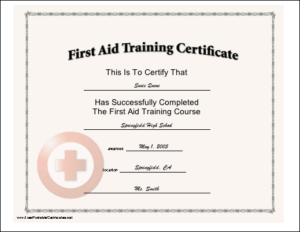 This Certificate, With A Red Cross Seal, Certifies The For Best First Aid Certificate Template Free