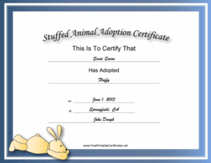 This Free, Printable, Stuffed Animal Adoption Certificate Is inside Best Stuffed Animal Birth Certificate Template 7 Ideas