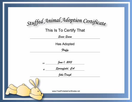 This Free, Printable, Stuffed Animal Adoption Certificate Is Inside Rabbit Adoption Certificate Template 6 Ideas Free