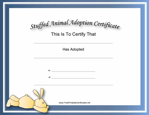 This Free, Printable, Stuffed Animal Adoption Certificate Is regarding Dog Adoption Certificate Template