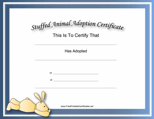 This Free, Printable, Stuffed Animal Adoption Certificate Is with Pet Adoption Certificate Template