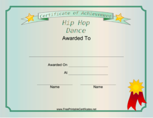 This Printable Certificate Recognizes Outstanding intended for Hip Hop Dance Certificate Templates