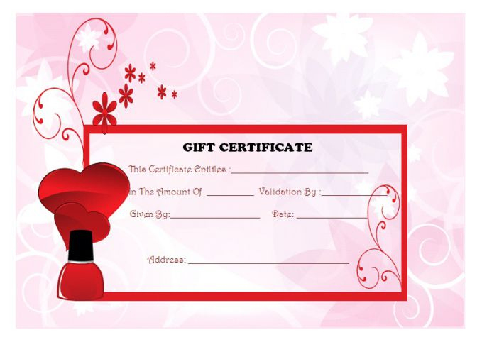 Top 10 Specialized Manicure Gift Certificate Templates pertaining to Best Nail Salon Gift Certificate Template