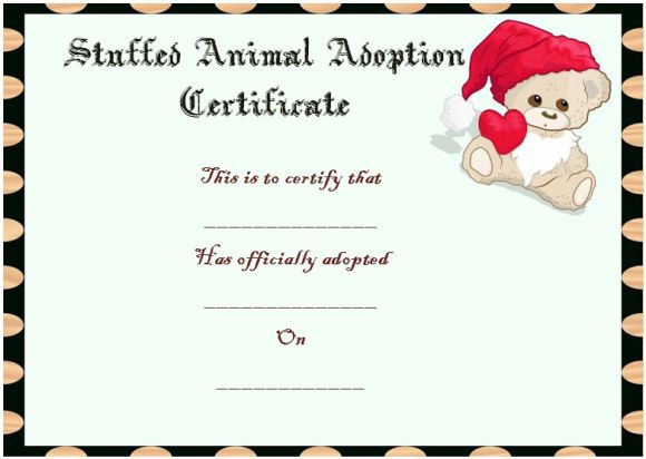 Toy Adoption Certificate Template : 13+ Free Word Templates for New Stuffed Animal Adoption Certificate Editable Templates