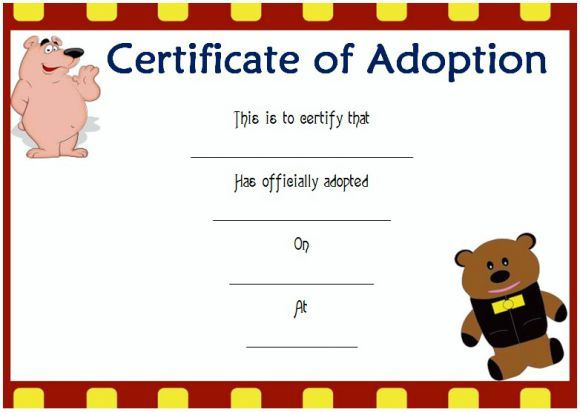 Toy Adoption Certificate Template : 13+ Free Word Templates Intended For Toy Adoption Certificate Template