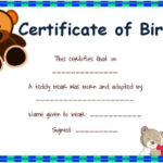 Toy Adoption Certificate Template : 13+ Free Word Templates Pertaining To Amazing Teddy Bear Birth Certificate Templates Free