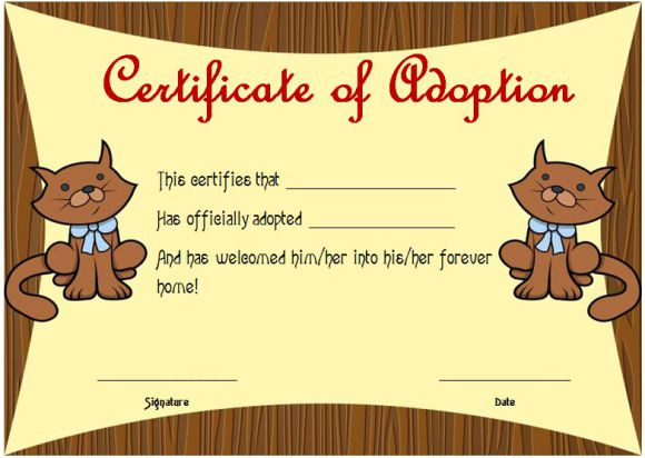 Toy Adoption Certificate Template : 13+ Free Word Templates pertaining to Kitten Birth Certificate Template
