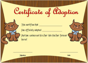 Toy Adoption Certificate Template : 13+ Free Word Templates with Cat Birth Certificate Free Printable