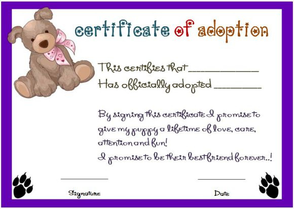 Toy Adoption Certificate Template : 13+ Free Word Templates with Stuffed Animal Adoption Certificate Editable Templates