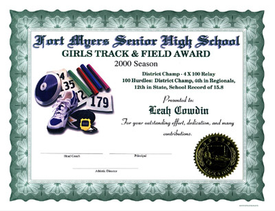 Track & Field Certificates intended for Quality Track And Field Certificate Templates Free