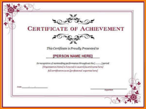 Training Certificate Template Free Download Word Achievement within Fresh Free Certificate Templates For Word 2007