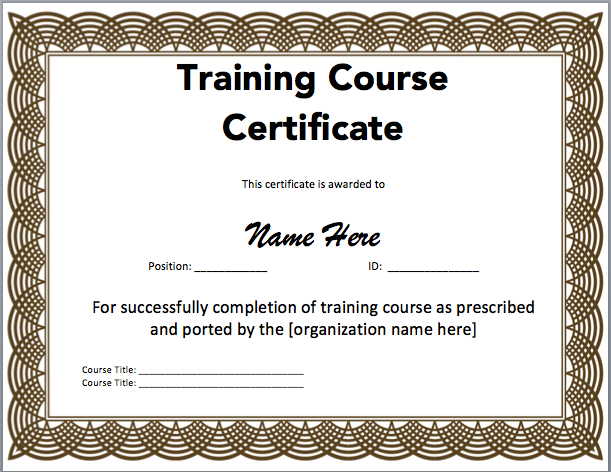 Training Certificate Template Microsoft Word Templates Free pertaining to Downloadable Certificate Templates For Microsoft Word
