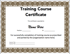 Training Certificate Template Microsoft Word Templates Free regarding Quality Training Certificate Template Word Format