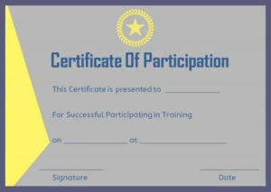 Training Participation Certificate Format | Certificate Of pertaining to Sample Certificate Of Participation Template