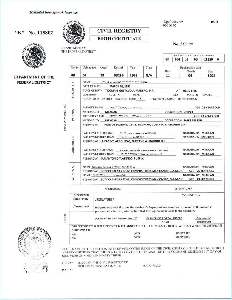 Translate Mexican Birth Certificate Free Template Translated Throughout Fresh Mexican Birth Certificate Translation Template