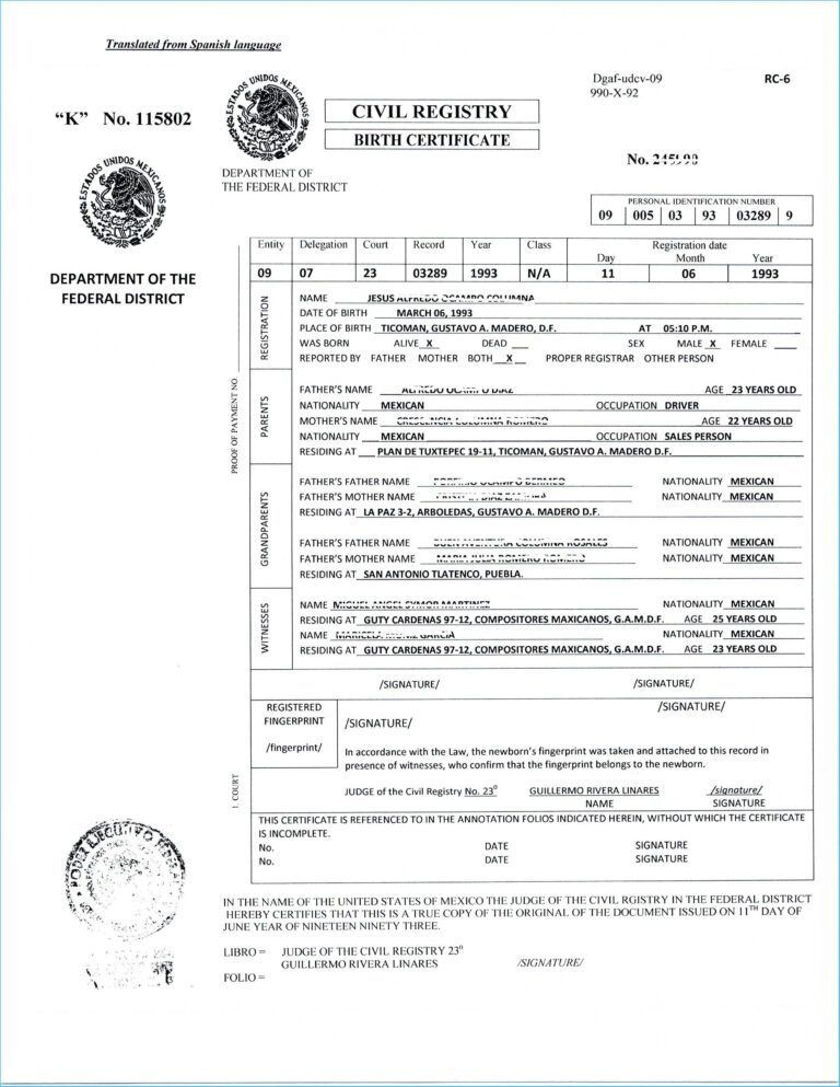 Translate Mexican Birth Certificate Free Template Translated within Unique Uscis Birth Certificate Translation Template
