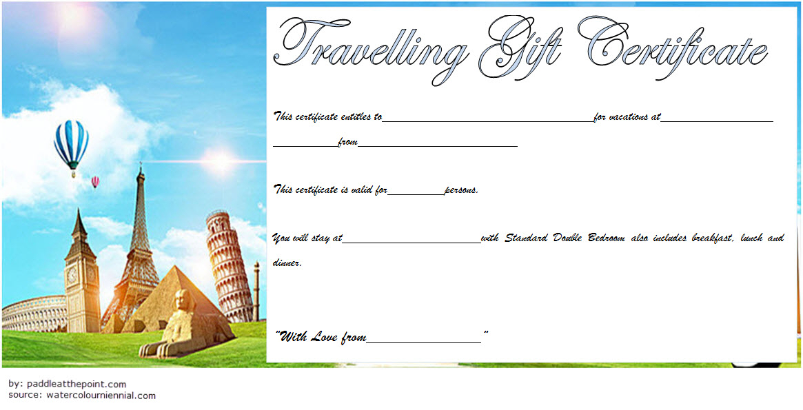 Travel Gift Certificate Template Free Printable 3 | Air intended for Travel Gift Certificate Templates