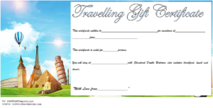 Travel Gift Certificate Template Free Printable 3 | Air throughout Unique Free Travel Gift Certificate Template