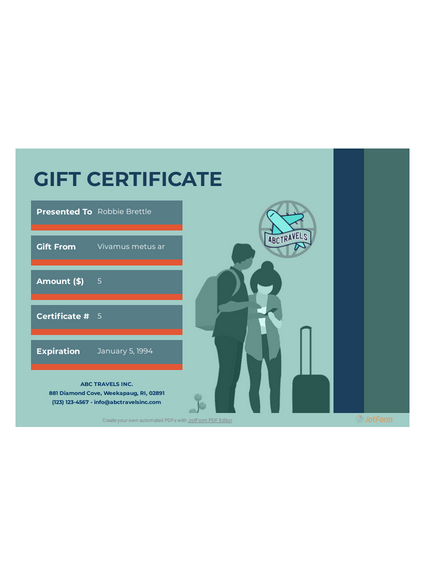Travel Gift Certificate Template - Pdf Templates | Jotform for Travel Gift Certificate Templates