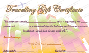 Travelling Gift Certificate Template | Printable Gift with Free Travel Gift Certificate Template