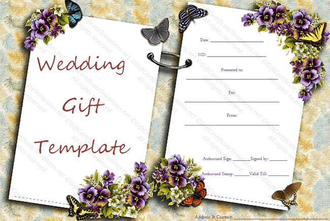 Two Sides Wedding Gift Certificate Template with Unique Free Editable Wedding Gift Certificate Template