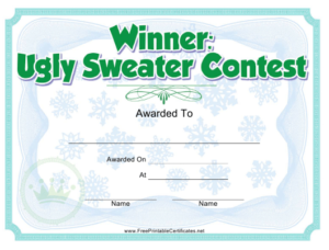 Ugly Sweater Contest Award Certificate Template Download inside Unique Free Ugly Christmas Sweater Certificate Template