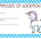 Unicorn Adoption Certificate Free Printable (Fantasy Design inside Unicorn Adoption Certificate Free Printable 7 Ideas