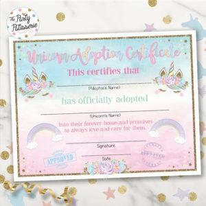 Unicorn Adoption Certificate, Unicorn Birthday, Printable, Instant  Download, 2 Color Options Included with regard to Unicorn Adoption Certificate Free Printable 7 Ideas