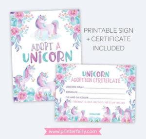 Unicorn Adoption Party Unicorn Adoption Certificate And Sign intended for Unicorn Adoption Certificate Free Printable 7 Ideas
