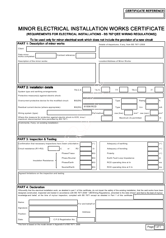 United Kingdom Minor Electrical Installation Works inside Fresh Electrical Minor Works Certificate Template