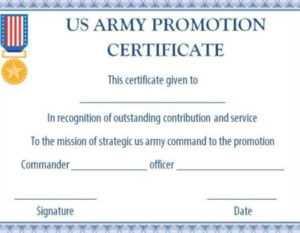 Us Army Promotion Certificate Template | Certificate with Job Promotion Certificate Template Free