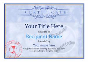 Use Free Baseball Certificate Templates -Awardbox in Quality Baseball Award Certificate Template