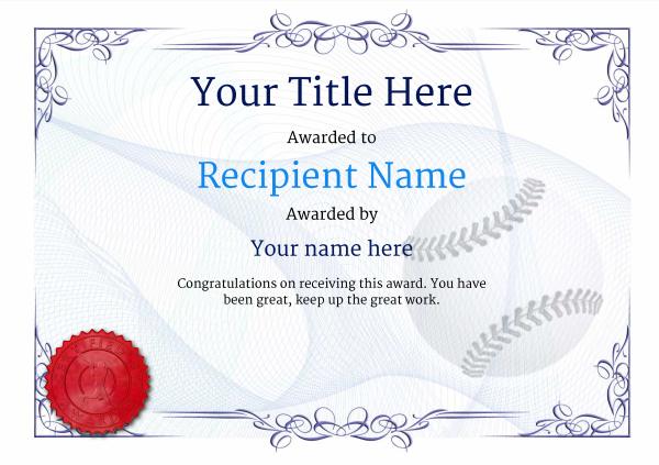 Use Free Baseball Certificate Templates -Awardbox pertaining to Editable Baseball Award Certificates