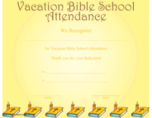 Vacation Bible School Attendance Certificate Printable in Vbs Attendance Certificate Template