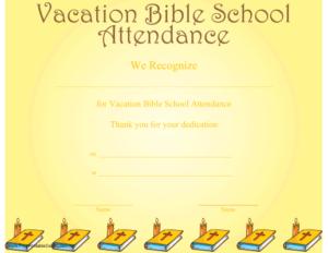 Vacation Bible School Attendance Certificate Printable regarding Free Vbs Certificate Templates