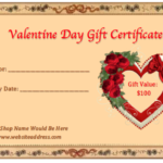 Valentine Gift Certificate Templates   Gift Certificate In New Valentine Gift Certificate Template