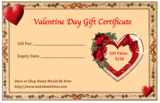 Valentine Gift Certificate Templates | Gift Certificate in New Valentine Gift Certificate Template