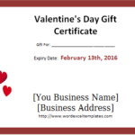Valentine'S Day Gift Certificate Template Word – Valentines Within New Valentine Gift Certificate Template
