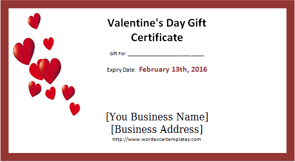 Valentine'S Day Gift Certificate Template Word - Valentines within New Valentine Gift Certificate Template