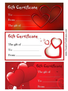 Valentine'S Gift Certificates | Gift Certificate Template for Valentine Gift Certificate Template