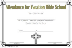 Vbs Attendance Certificate Template 1 In 2020 | Vacation in Unique Vbs Attendance Certificate Template