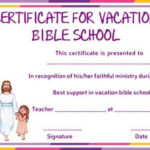 Vbs Certificate Of Completion Template | Bible School With Vbs Attendance Certificate Template