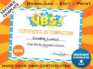 Vbs Vacation Bible School Certificate Of Completion Editable Template  Printable intended for Vbs Certificate Template