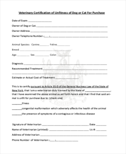 Veterinary Health Certificate Template (2) – Templates intended for Veterinary Health Certificate Template