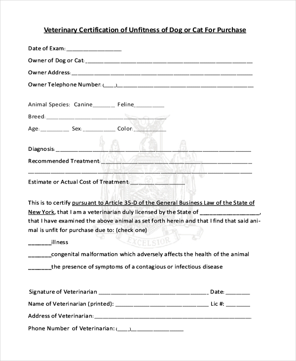 Veterinary Health Certificate Template (2) - Templates intended for Veterinary Health Certificate Template