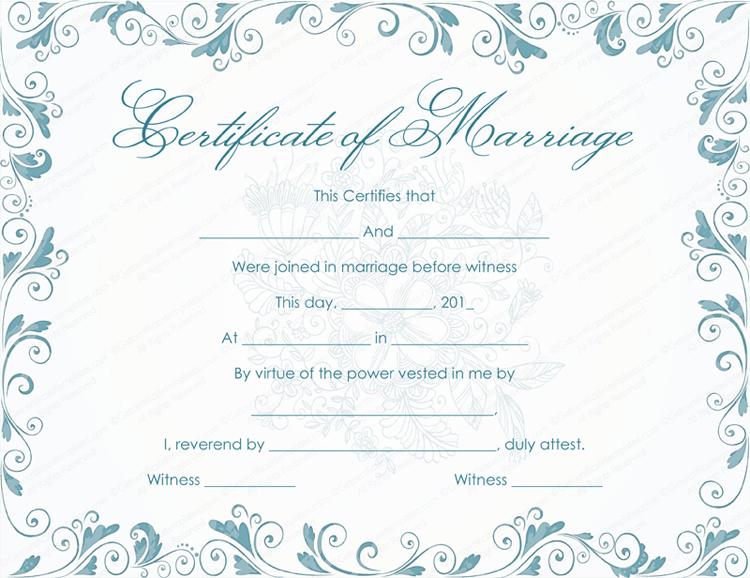Vintage Marriage Certificate Template - (Editable in Quality Marriage Certificate Template Word 10 Designs